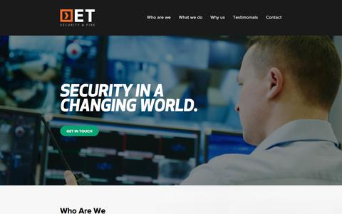 Screenshot of Home Page etsecuritysystems.com.au - Home - ET Security - captured Oct. 16, 2016