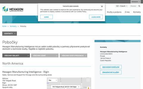 Screenshot of Locations Page hexagonmi.com - Pobočky | Hexagon Manufacturing Intelligence - captured Nov. 25, 2017