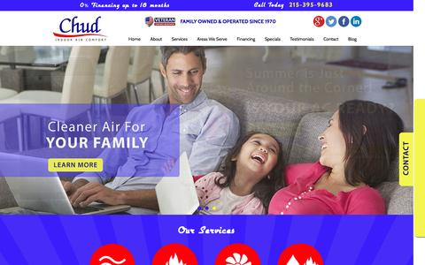 Screenshot of Home Page chudcompany.com - Residential HVAC Services in Bucks County & Warminster, PA | Chud Indoor Air Comfort | www.chudcompany.com - captured Nov. 5, 2016