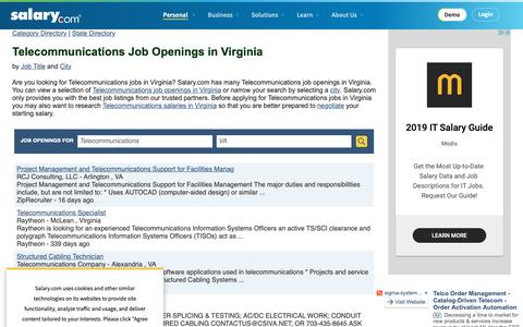 Screenshot of Jobs Page salary.com - Telecommunications Job Openings in Virginia | Salary.com - captured Oct. 26, 2018