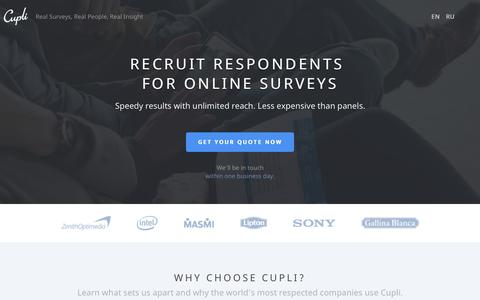 Screenshot of Home Page cuplisurveys.com - Recruit Respondents for Online Surveys | Cupli Surveys - captured Sept. 18, 2015