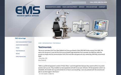 Screenshot of Testimonials Page emseye.com - EMS | Pre-Owned Ophthalmic Equipment Testimonials - captured Jan. 29, 2016