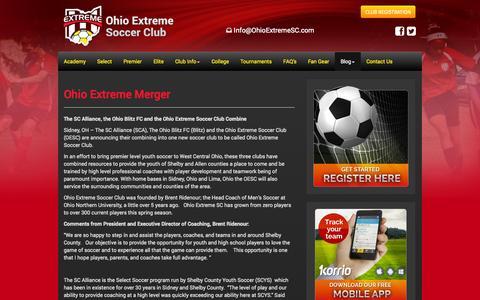Screenshot of Blog ohioextremesc.com - Blog - Ohio Extreme Soccer Club - Ohio Competitive Soccer League - captured Oct. 27, 2014