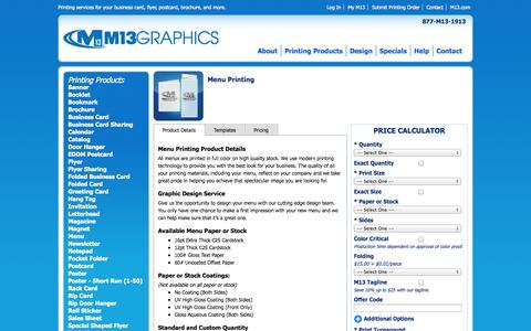 Screenshot of Menu Page m13.com - Menu Printing from M13 Graphics | Prices, Templates, & Details - captured Oct. 30, 2014