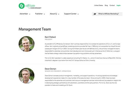 Screenshot of Team Page cj.com - Management Team | CJ Affiliate by Conversant (formerly Commission Junction) - captured Sept. 19, 2014
