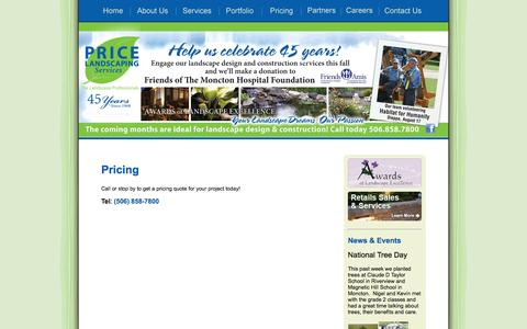 Screenshot of Pricing Page pricelandscaping.ca - Price Landscaping Services - Pricing - Moncton, Dieppe, Riverview - Call or stop by to get a pricing quote for your project today! - captured Oct. 3, 2014