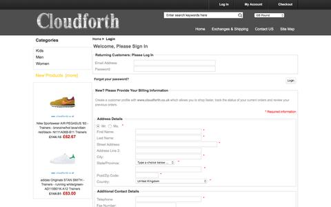 Screenshot of Login Page cloudforth.co.uk - Login : Buy Online clothes, bags, glasses, shoes - captured July 14, 2016