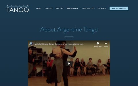 Screenshot of About Page makelatango.com - About Makela Tango, authentic Argentine Tango lessons in Los Angeles and Santa Monica. - captured Nov. 11, 2018