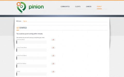 Screenshot of Signup Page pinion.gg - Pinion - captured Sept. 17, 2014