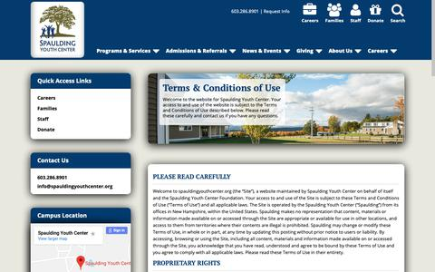 Screenshot of Terms Page spauldingyouthcenter.org - Spaulding Youth Center | Terms & Conditions of Use - captured Oct. 19, 2018