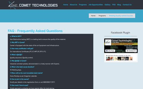 Screenshot of FAQ Page comettech.in - FAQ's, NDT FAQ's, NDT Interview Questions and Answers - captured Jan. 30, 2016