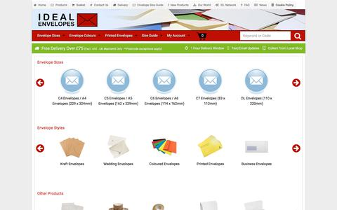 Screenshot of Products Page ideal-envelopes.co.uk - Envelopes - All Sizes, Colours & Finishes - Ideal Envelopes - captured Sept. 22, 2018