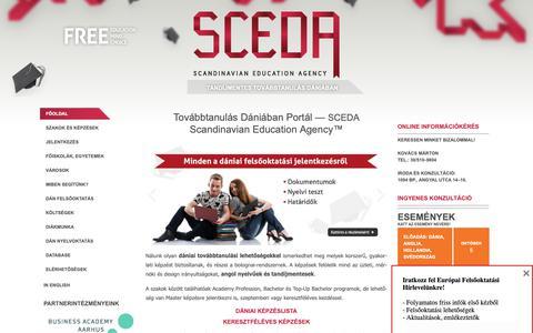Screenshot of Home Page sceda.eu - Továbbtanulás Dániában - Scandinavian Education Agency (SCEDA) - captured Oct. 1, 2018