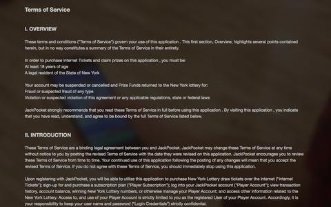Screenshot of Terms Page jackpocket.com - Jackpocket - captured Sept. 16, 2014