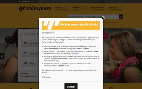 Screenshot of Home Page chilexpress.cl - Empresa de Courier Nacional e Internacional, encomiendas y envíos | Chilexpress - captured Dec. 14, 2018