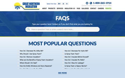 Screenshot of FAQ Page gni.ca - Insulation FAQs   Great Northern Insulation - captured Sept. 2, 2016