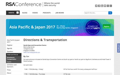 Screenshot of Maps & Directions Page rsaconference.com - Directions & Transportation - Information Security Conference - Asia Pacific & Japan 2017 | RSA Conference - captured July 23, 2017