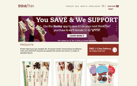 Screenshot of Home Page thinkproducts.com - Protein Bars & Healthy Portable Snacks | thinkThin® Official Website - captured Nov. 14, 2018