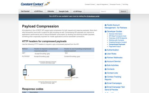 Screenshot of Developers Page constantcontact.com - Compressed Payloads   Constant Contact Developer - captured June 18, 2019