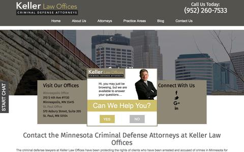 Screenshot of Contact Page kellerlawoffices.com - Contact | Keller Law Offices | Minnesota Criminal Defense Lawyer - captured Sept. 20, 2018