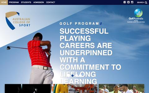 Screenshot of Home Page elitegolf.edu.au - Home | Australian College of Sport - Golf - captured June 18, 2015