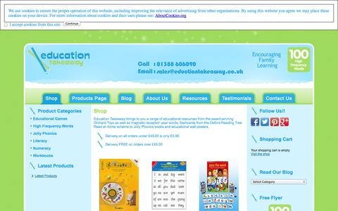Screenshot of Home Page educationtakeaway.co.uk - Jolly Phonics Books - High Frequency Words - Orchard Toys - CGP Workbooks - captured Sept. 29, 2014