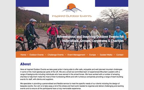 Screenshot of About Page inspired-outdoors.co.uk - About - Inspired Outdoor EventsInspired Outdoor Events - captured Nov. 13, 2017