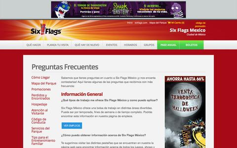 Screenshot of FAQ Page sixflags.com.mx - Preguntas Frecuentes   Six Flags México - captured Sept. 26, 2016