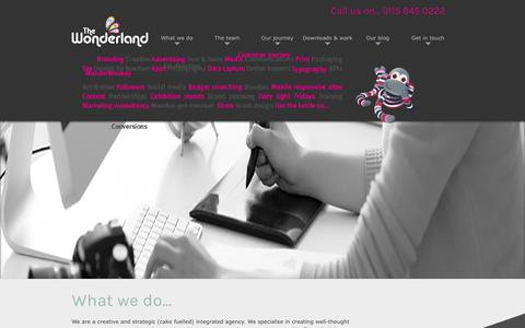 Screenshot of Home Page thewonderland.co.uk - Creative agency Nottingham - The Wonderland, advertising agency, online marketing Nottingham - captured Sept. 21, 2018