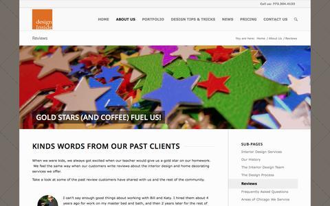 Screenshot of Testimonials Page designinsidechicago.com - Interior Design Reviews - Design Inside Chicago - captured Oct. 5, 2014