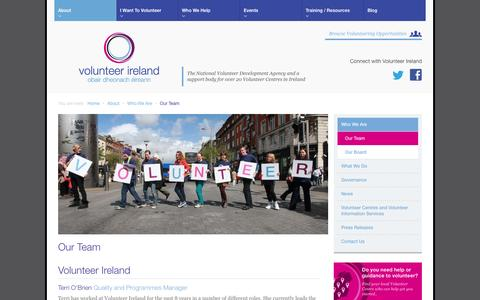 Screenshot of About Page Team Page volunteer.ie - Our Team | Who We Are | About - Volunteer Ireland - captured Oct. 26, 2014