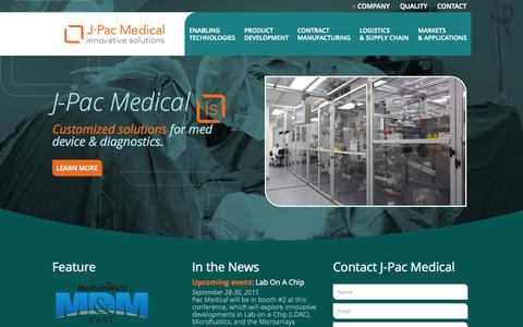 Screenshot of Home Page j-pacmedical.com - Contract Services for Diagnostic & Medical Device Markets - captured June 19, 2015