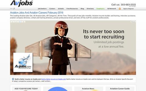 Screenshot of Home Page avjobs.com - Aviation Jobs and Aviation Careers February 2016 - captured Feb. 6, 2016