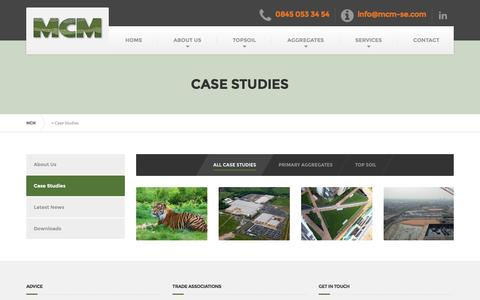 Screenshot of Case Studies Page mcm-se.com - MCM Hazardous Waste Disposal Services | Case Studies - captured Nov. 15, 2016