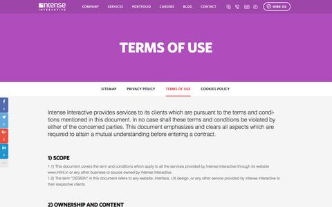 Screenshot of Terms Page intint.in - Terms of Use – Intense Interactive™ - captured Nov. 26, 2016