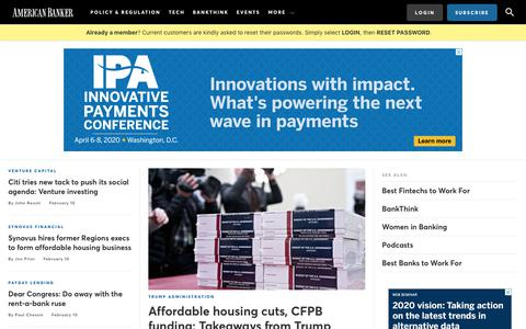 Screenshot of Home Page americanbanker.com - Home | American Banker - captured Feb. 11, 2020