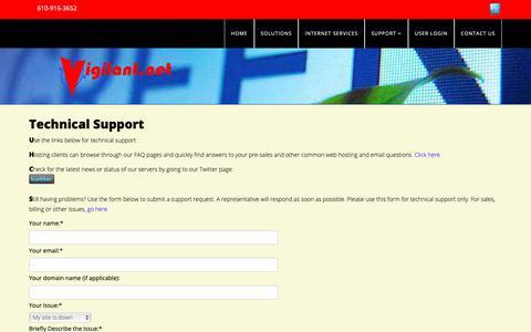 Screenshot of Support Page vigilant.net - Technical Support - captured Dec. 4, 2018