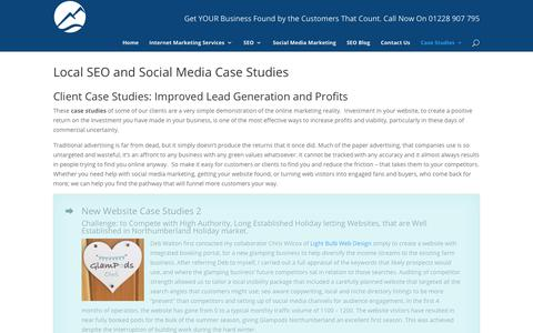 Screenshot of Case Studies Page consultingcumbria.co.uk - Local SEO and Social Media Case Studies - captured Sept. 29, 2018