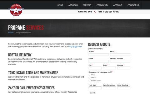 Screenshot of Services Page associatedpropane.com - Propane Services | Associated Propane - captured Oct. 26, 2018