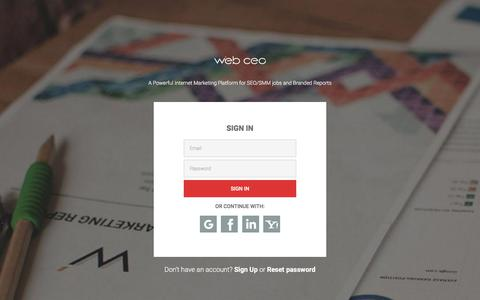 Screenshot of Login Page webceo.com - Please sign in  / Web CEO - captured May 19, 2018