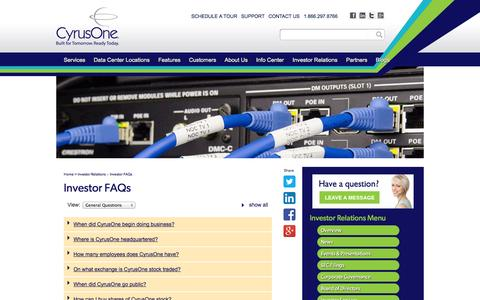 Screenshot of FAQ Page cyrusone.com - CyrusOne - Investor FAQs - captured Sept. 15, 2014