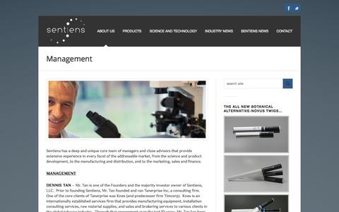Screenshot of Team Page sentiens.us - Management | About Us | Sentiens | Sentiens LLC - captured Oct. 9, 2014