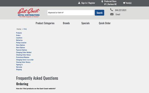 Screenshot of FAQ Page ecmdi.com - FAQ | East Coast Metal Distributors - captured July 13, 2017