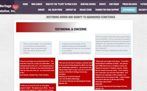 Screenshot of Testimonials Page savemycemetery.com - TESTIMONIALS - captured Feb. 15, 2016