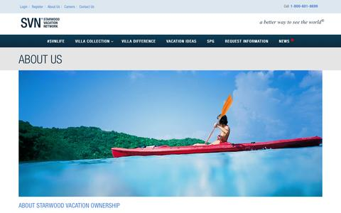 Screenshot of About Page starwoodvacationnetwork.com - About Us - Starwood Vacation Network - captured Dec. 5, 2015