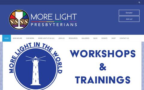 Screenshot of Home Page mlp.org - More Light Presbyterians – We're working toward the full participation of LGBTQIA+ people in the life, ministry and witness of the Presbyterian Church (USA) – and in society. - captured Oct. 18, 2018