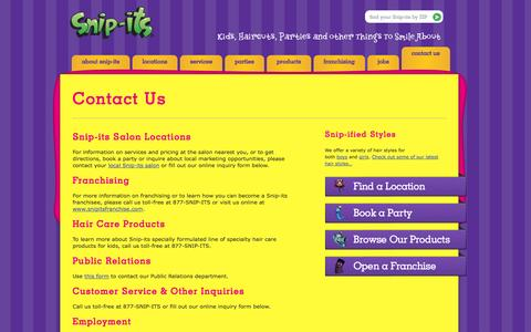 Screenshot of Contact Page snipits.com - Contact Us » Snip-its - captured Sept. 19, 2014