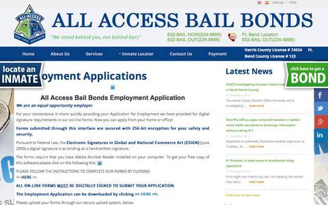Screenshot of Jobs Page allaccessbailbonds.com - Careers - All Access Bail Bonds - captured July 25, 2016