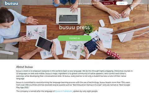 Screenshot of Press Page busuu.com - Press page with company infos, logos, photos, screenshots - busuu - captured Oct. 11, 2017