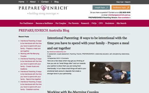 Screenshot of Blog prepare-enrich.com.au - PREPARE/ENRICH Australia Blog - captured Sept. 25, 2018